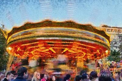 Twilight Painting - Christmas Carousel by George Atsametakis