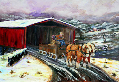 Covered Bridge Painting - Christmas Eve by Gail Daley