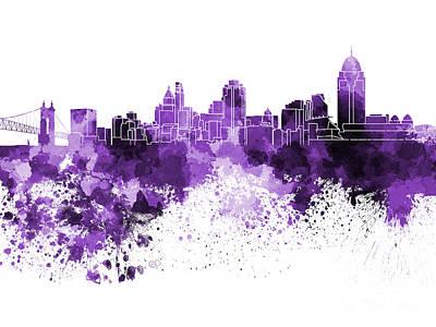 Cincinnati Ohio Painting - Cincinnati Skyline In Watercolor On White Background by Pablo Romero