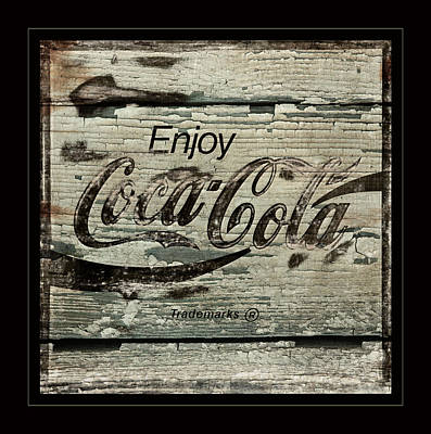 Coca Cola Cracked Paint Sign Print by John Stephens