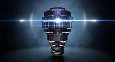 Cogwheel Lightbulb Shape Concept Print by Allan Swart