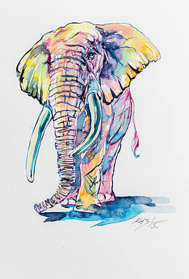 Elephant Painting - Colorful Elephant by Kovacs Anna Brigitta
