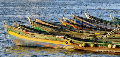 Bird Photograph - Colorful Fishing Boats by Oscar Gutierrez