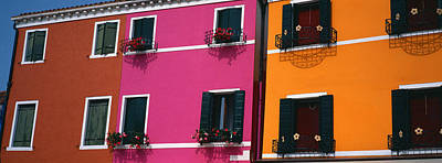 In A Row Photograph - Colorful Row Houses, Burano, Venice by Panoramic Images