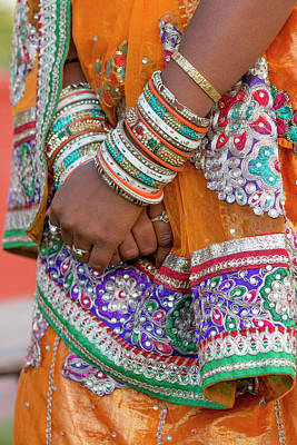 Colorful Wedding Costumes And Sari Print by Tom Norring