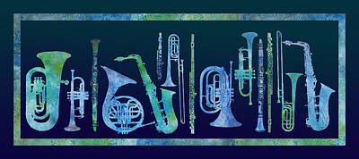 Trombone Digital Art - Cool Blue Band by Jenny Armitage