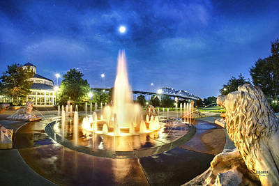 Coolidge Park Fountains At Night Print by Steven Llorca