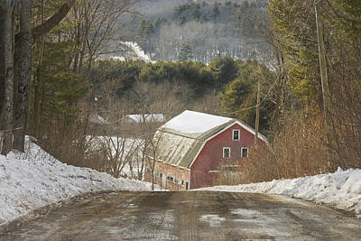 Country Road And Barn In Winter Maine Print by Keith Webber Jr