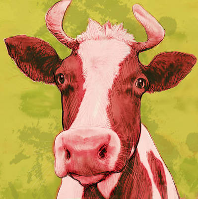 Cows Mixed Media - Cow Stylised Pop Modern Art Drawing Sketch Portrait by Kim Wang