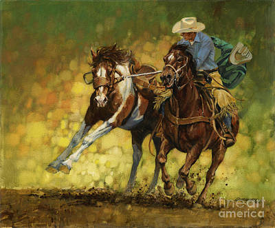 Horses Painting - Rodeo Pickup by Don  Langeneckert