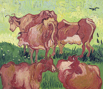Crow Painting - Cows by Vincent Van Gogh