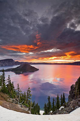 Crater Lake Dawn Print by Greg Nyquist