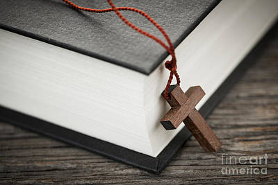 Wood Necklace Photograph - Cross And Bible by Elena Elisseeva