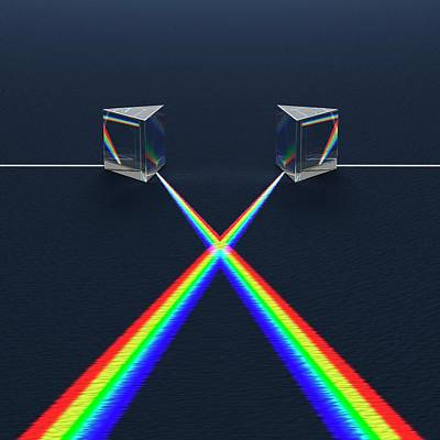 Crossed Prisms With Spectra Print by David Parker