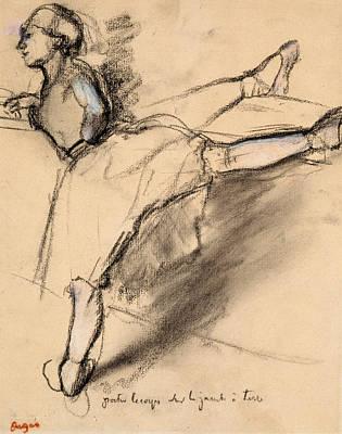 Arabesque Drawing - Dancer At The Bar by Edgar Degas