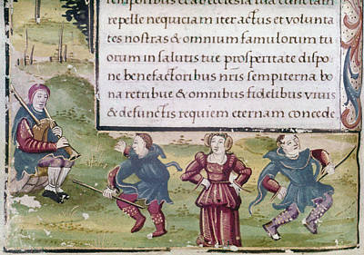 Bagpipes Painting - Dancers, 15th Century by Granger