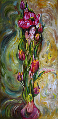 Spring Bulbs Painting - Dancing Tulips by Harsh Malik