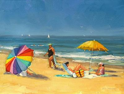Boat On Beach Painting - Day At The Beach by Laura Lee Zanghetti