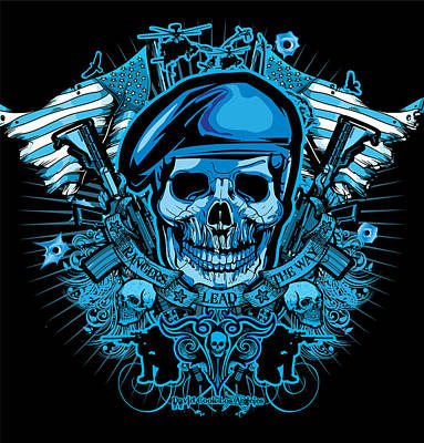 Dcla Los Angeles Skull Army Ranger Artwork Print by David Cook Los Angeles
