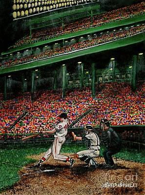 Baseball History Painting - Derrek's Homerun by Linda Simon
