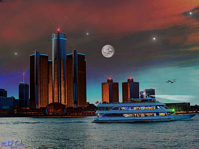 Detroit Skyline Original by Michael Rucker