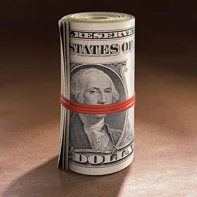 Dollar Bills Rolled Up Print by Ktsdesign