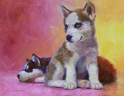 Arctic Dog Painting - Double Trouble - Alaskan Husky Sled Dog Puppies by Karen Whitworth