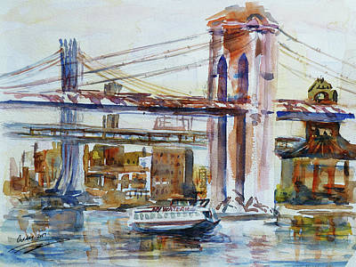 Nyc Painting - Downtown Bridge by Xueling Zou
