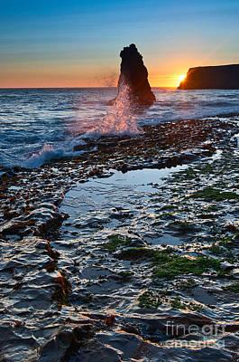 Dramatic View Of A Sea Stack In Davenport Beach Santa Cruz. Print by Jamie Pham