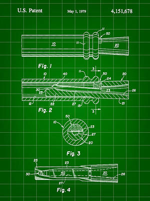 Zz Digital Art - Duck Call Patent 1979 - Green by Stephen Younts