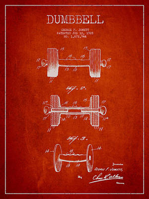 Technical Drawing - Dumbbell Patent Drawing From 1927 by Aged Pixel