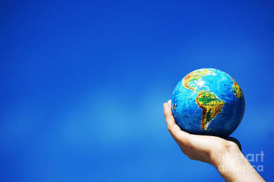 Terra Photograph - Earth Globe In Hands. Conceptual Image by Michal Bednarek