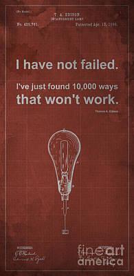 Edison Quote Incandescent Lamp Patent Blueprint Print by Pablo Franchi