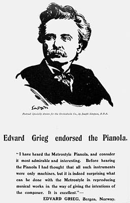 Endorsement Drawing - Edvard Grieg (1843-1907) by Granger