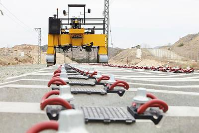 Electrified Railway Line Being Built Print by Ashley Cooper