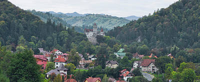 Romania Photograph - Elevated View Of A Town, Bran Castle by Panoramic Images