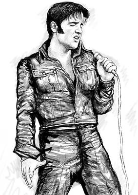 Abstract Pop Drawing - Elvis Presley Art Drawing Sketch Portrait by Kim Wang
