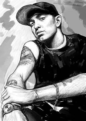 Pop Art Drawing - Eminem Art Drawing Sketch Portrait by Kim Wang