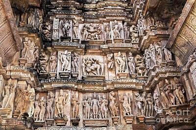 Erotic Human Sculptures Khajuraho India Print by Rudra Narayan  Mitra
