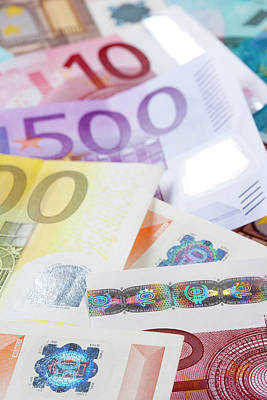 Banknotes Photograph - Euro - European Union Banknotes by Panoramic Images