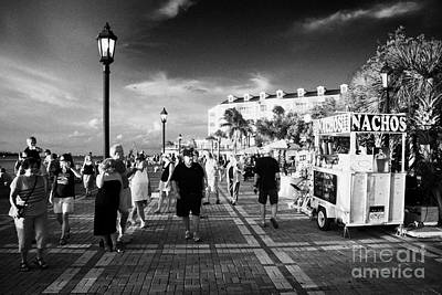 Evening Waterfront Sunset Celebrations Mallory Square Key West Florida Usa Print by Joe Fox