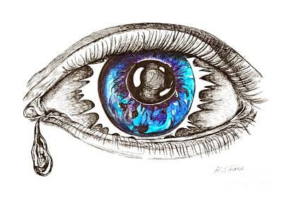 Tear Drawing - Eye Eclipse by Karen Sirard