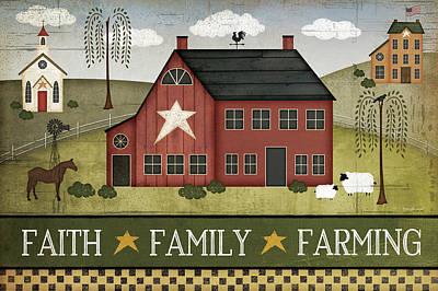Faith, Family, Farming Print by Jennifer Pugh