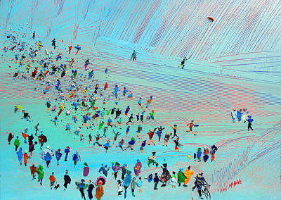 Spectators Painting - Fell Runners by Neil McBride