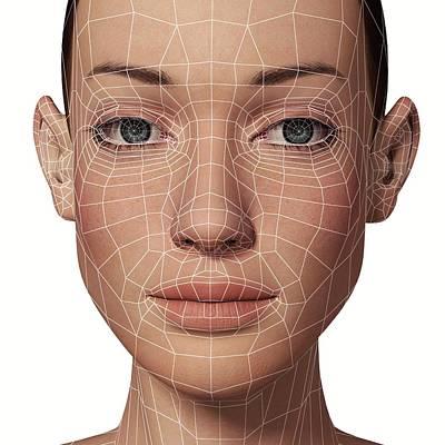 Human Eye Photograph - Female Head With Biometric Facial Map by Alfred Pasieka