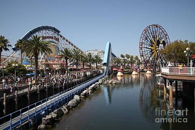 Ferris Wheel And Roller Coaster - Paradise Pier - Disney California Adventure - Anaheim California - Print by Wingsdomain Art and Photography