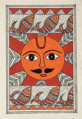 Madhubani Drawing - Festive Sun by Neha Dasgupta