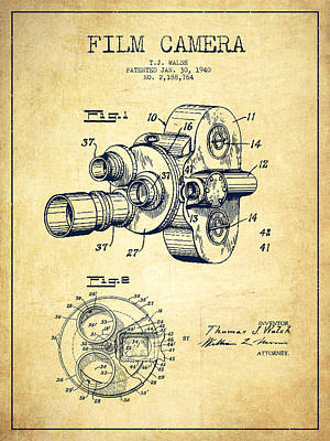 Film Camera Digital Art - Film Camera Patent Drawing From 1938 by Aged Pixel