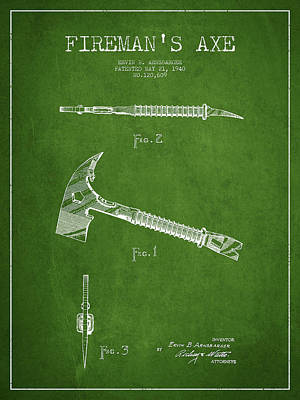 Gear Drawing - Fireman Axe Patent Drawing From 1940 by Aged Pixel