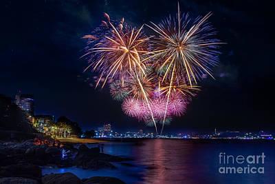 Fireworks At Pattaya Beach Print by Anek Suwannaphoom